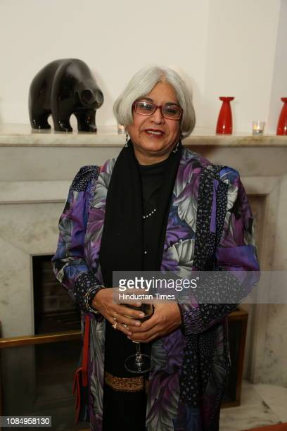 Artist Kanchan Chander at the launch of Over and Under Ground in Mumbai Paris an Indofrench illustrated book of poetry published by Westland at the...
