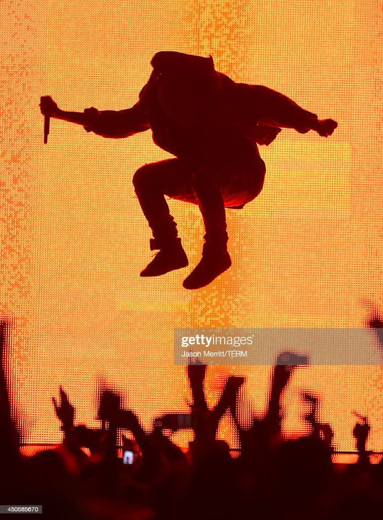 Artist Kanye West performs at the Bonnaroo Music & Arts Festival on June 13, 2014 in Manchester, Tennessee.