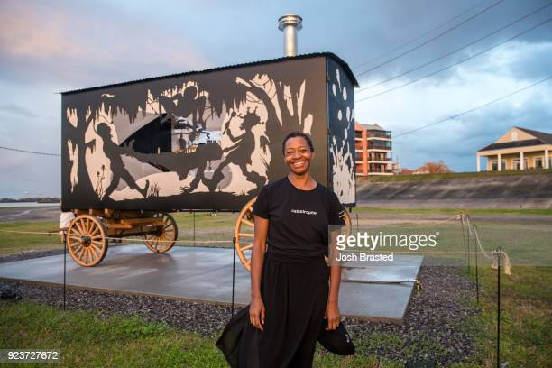 Artist Kara Walker poses for a photo during the premiere of Katastwof Karavan at the Mississippi River Trail on February 23 2018 in New Orleans...