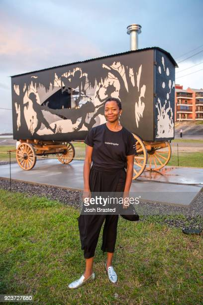Artist Kara Walker poses for a photo follwing the premiere of Katastwof Karavan at the Mississippi River Trail on February 23 2018 in New Orleans...