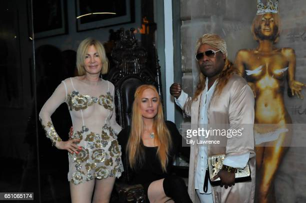 Artist Karen Bystedt Ashley Cummings and celebrity stylist Sir Joe Exclusive attend Karen Bystedt's 'Kings And Queens' exhibition on March 9 2017 in...