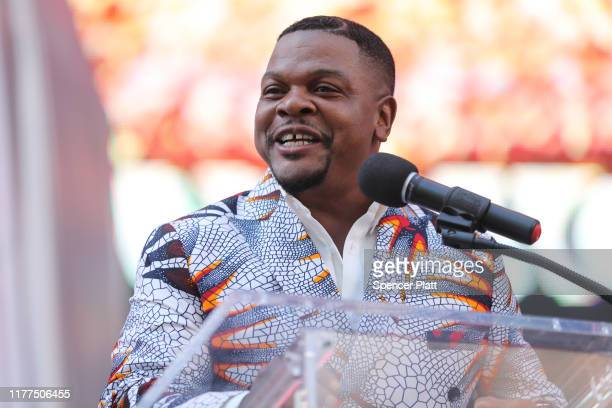 """Artist Kehinde Wiley speaks at the unveiling of his new work """"Rumors of War"""" as it is unveiled in Times Square on September 27, 2019 in New York..."""