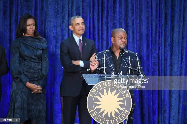 Artist Kehinde Wiley speaks during an event for former President Barack Obama and former First Lady Michelle Obama as they have their portraits...