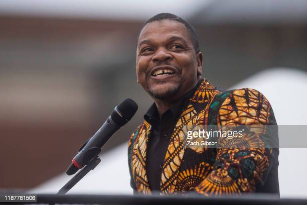 Artist Kehinde Wiley speaks during an unveiling ceremony for his statue, Rumors of War, at the Virginia Museum of Fine Arts on December 10, 2019 in...