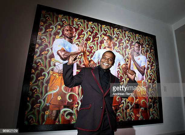 Artist Kehinde Wiley stands in front of his painting during the PUMA - Kehinde Wiley vernissage on January 20, 2010 in Berlin, Germany.