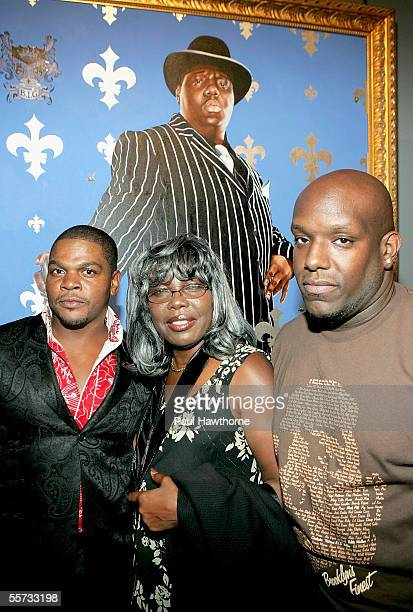 Artist Kehinde Wiley with Voletta Wallace mother of the late rapper Notorious BIG and Wayne Barrow pose for photos during VH1's 2005 Hip Hop Honors...