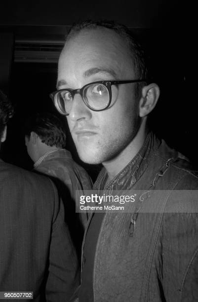 Artist Keith Haring at th opening of fashion designer Stephen Sprouse's store at 99 Wooster Street in Soho in New York City New York in September 1987