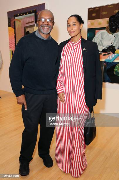 Artist Kerry James Marshall and actor Tracee Ellis Ross attend MOCA's Leadership Circle and Members' Opening of Kerry James Marshall Mastry at MOCA...