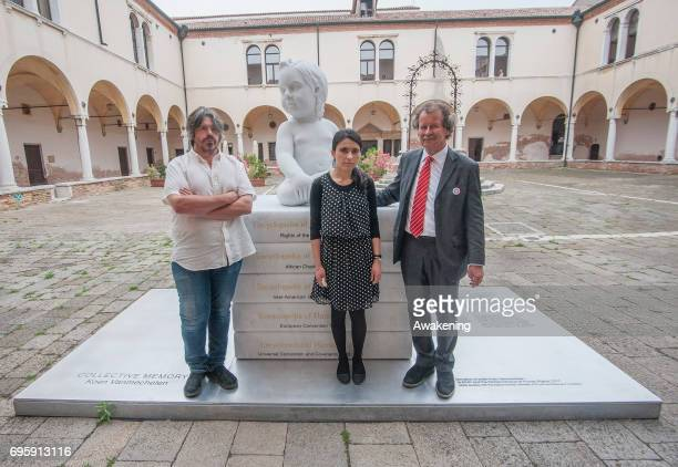 Artist Koen Vanmechelen Lamya Haji Bashar and Manfred Nowak pose for a portrait during the conference presentation at Eiuc at Monastero of San Nicolò...