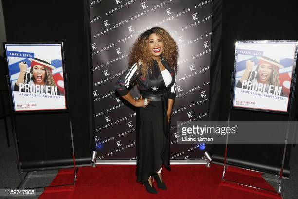 Artist Kwanza Jones attends the premiere of Problem at the Landmark Theater on July 02 2019 in Los Angeles California