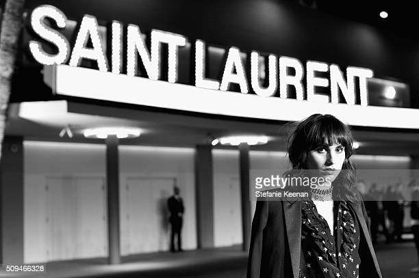 Artist Langley Fox in Saint Laurent by Hedi Slimane attends Saint Laurent at the Palladium on February 10 2016 in Los Angeles California for the...