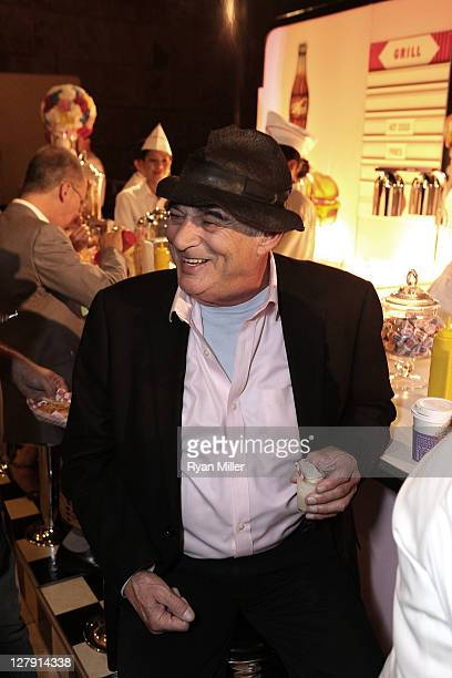 Artist Larry Bell eats at a 1950's themed buffett during the Pacific Standard Time: Art in LA 1945-1980 opening event held at the Getty Center on...