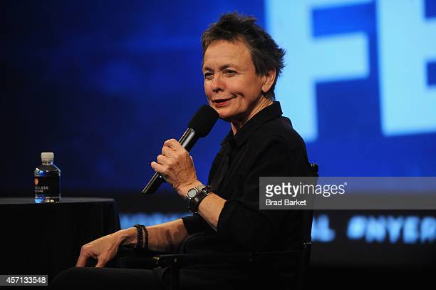 Artist Laurie Anderson attends Laurie Anderson in Conversation with Alex Ross MasterCard Stage at the SVA Theatre during The New Yorker Festival 2014...