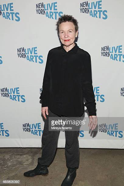 Artist Laurie Anderson attends New York Live Arts 2015 Gala at SIR Stage37 on March 10 2015 in New York City