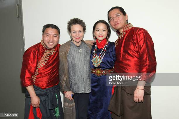 Artist Laurie Anderson Singer Tenzin Kunsel and performers attend Thank You Tibet at the Cathedral of St John the Divine on March 4 2010 in New York...