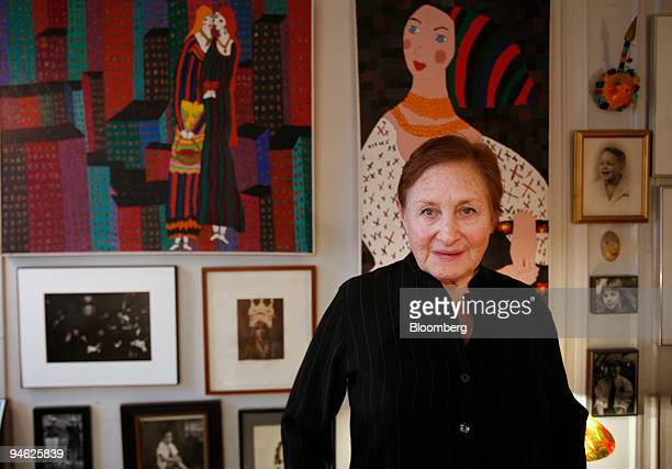 Artist Leah Kornfeld Friedman poses in front of her paintings inside her New York apartment on Monday Feb 26 2007 'The Good Steno' which like much of...