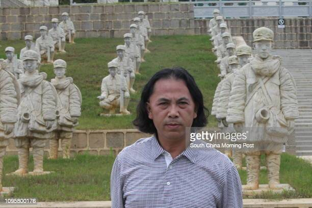 Artist Li Chunhua A view of some of the 402 sculptures of soldiers from the Chinese Expeditionary Force which helped defeat Japanese forces during...