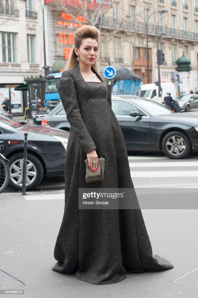 Artist Lidia Metelskaya wears a Ulyana Sergeenko dress and vintage bag day 2 of Paris Haute Couture Fashion Week Spring/Summer 2014, on January 21, 2014 in Paris, France.