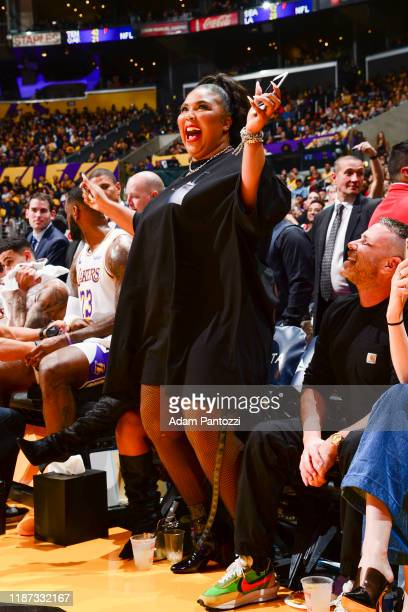 Artist Lizzo attends a game between the Los Angeles Lakers and the Minnesota Timberwolves on December 8 2019 at STAPLES Center in Los Angeles...