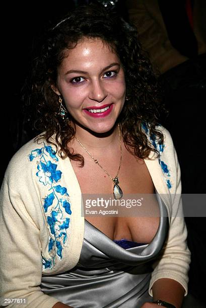 Artist Lola Schnabel poses front row at the Zac Posen fashion show during Olympus Fashion Week at Bryant Park February 12 2004 in New York City