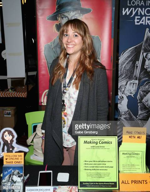 Artist Lora Innes attends the ClexaCon 2018 convention at the Tropicana Las Vegas on April 6 2018 in Las Vegas Nevada
