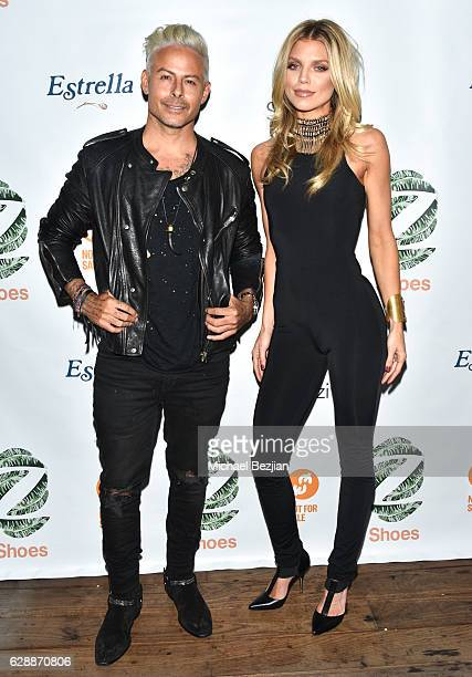 Artist Louis Carreon and actress AnnaLynne McCord arrive at Not For Sale x Z Shoes Benefit at Estrella Sunset on December 9, 2016 in West Hollywood,...