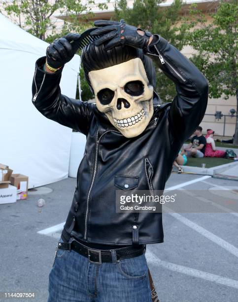 Artist Luis Projects dressed as a Skull Head Rockabilly character attends the Viva Las Vegas Rockabilly Weekend's car show at the Orleans Arena on...