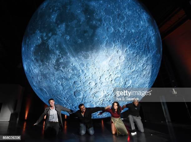 Artist Luke Jerram astrophysicist Neil deGrasse Tyson and actors Rosario Dawson and LeVar Burton attend Artemis Journey To The Moon presented by...