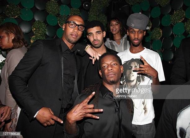Artist manager Cortez Bryant recording artist Drake DJ Future The Prince attend Busta Rhymes' birthday party at Greenhouse on June 16 2011 in New...