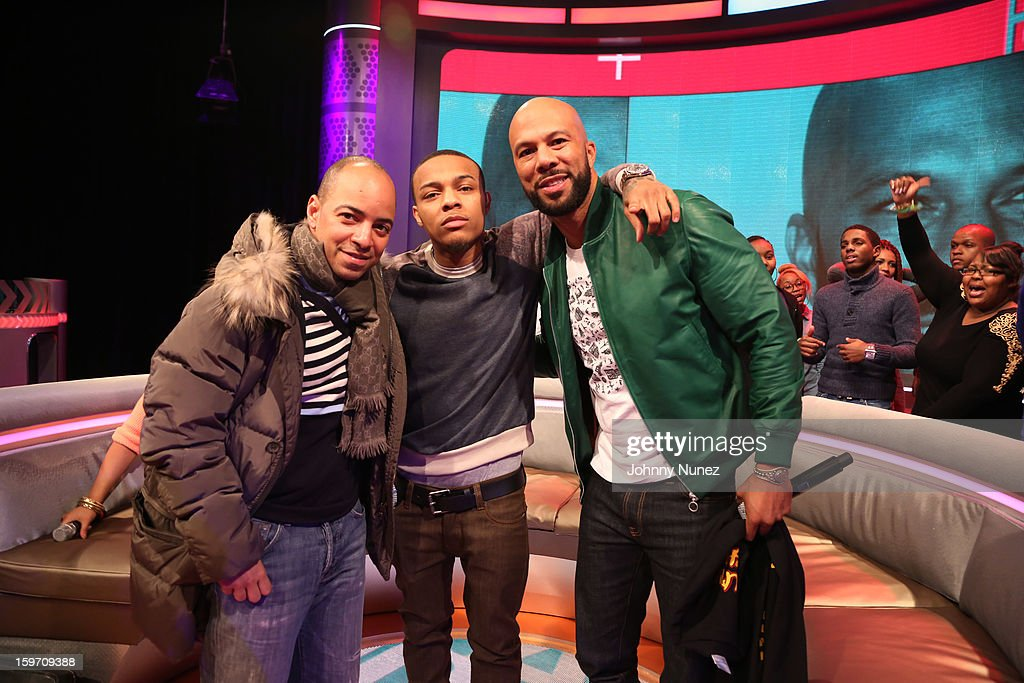 Artist manager Derek Dudley, host Bow Wow, and rapper/actor Common visit BET's '106 & Park' at 106 & Park Studio on January 18, 2013 in New York City.