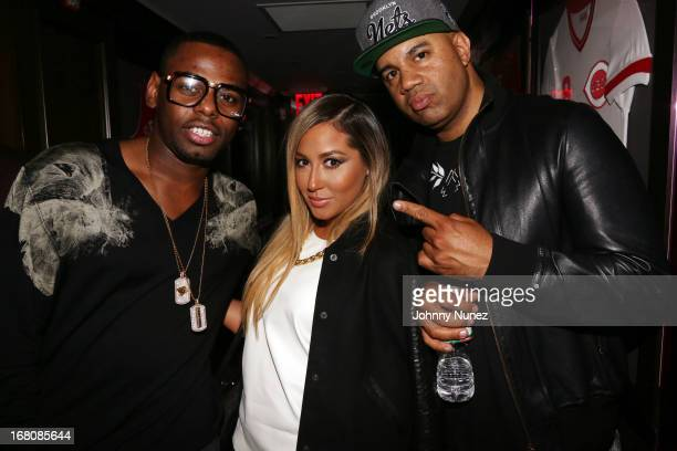 Artist manager Jayvon Smith singersongwriter/ TV personality Adrienne Bailon and music executive Lenny S attend the Rihanna After Party Fight at the...