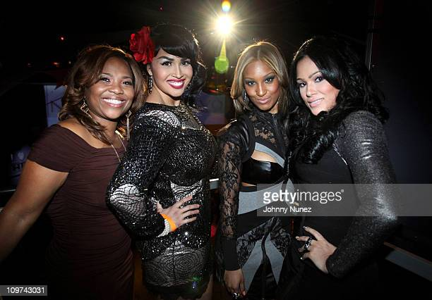 Artist manager Mona Scott poses with castmembers Somaya Reece Olivia Longott and Emily Bustamante at vh1's 'Love Hip Hop' New York premiere at...