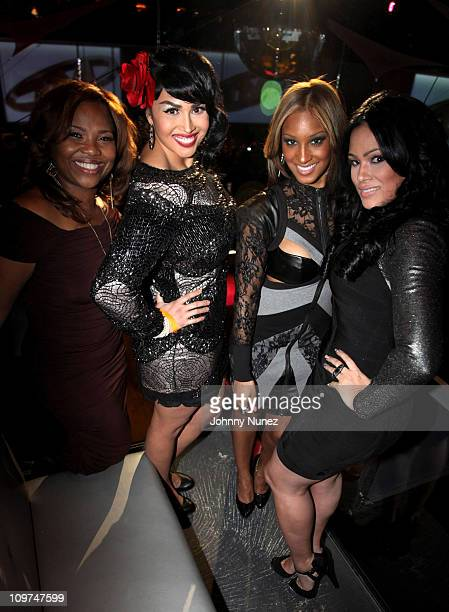 Artist manager Mona Scott poses with castmembers Somaya Reece Olivia Longott and Emily Bustamante at vh1's Love Hip Hop New York premiere at District...