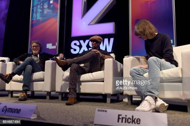 Artist manager Owen Husney musician Andre Cymone and Sr writer of Rolling Stone Magazine David Fricke speak onstage at 'Birth of a Purple Nation'...