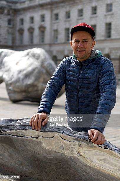 Artist Marc Quinn unveils his new art installation at Somerset House on September 17 2015 in London England The installation consists of four steel...