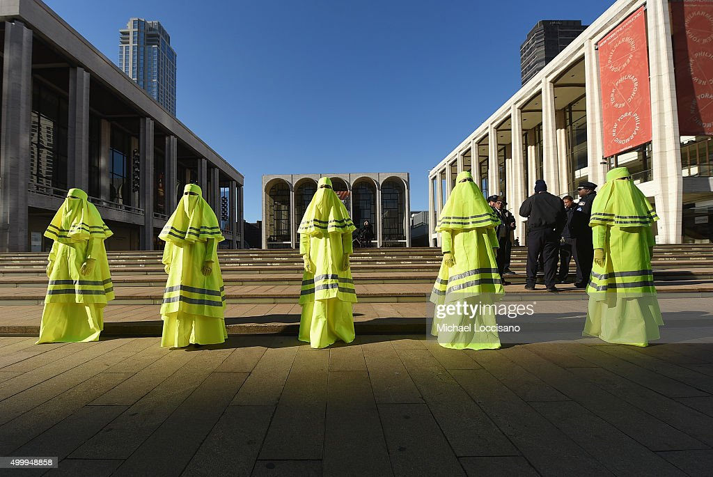 Artist Marco Biagini's 'High Visibility Burqa' performance art at Lincoln Center for the Performing Arts on December 4, 2015 in New York City.