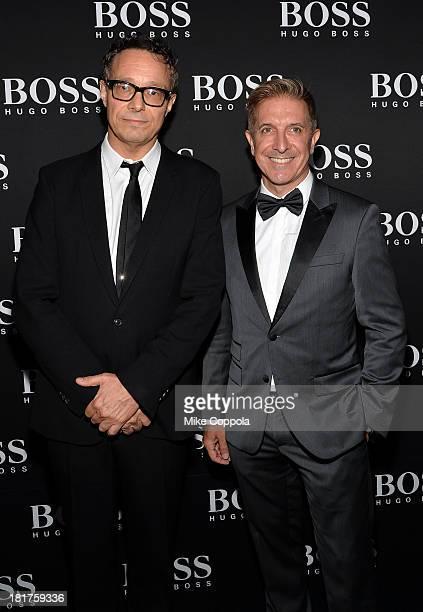 Artist Marco Brambilla and CEO of Hugo Boss Mark Brashear attend HUGO BOSS celebrates Columbus Circle BOSS flagship opening featuring premiere of...