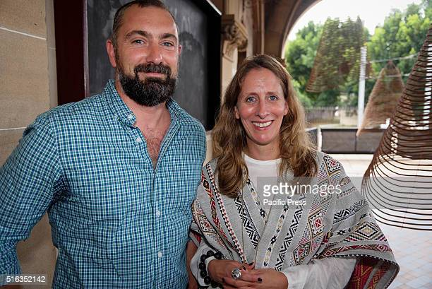 Artist Marco Chiandetti poses with Biennale of Sydney Artistic Director Stephanie Rosenthal at the Mortuary Station The Embassy of Transition during...