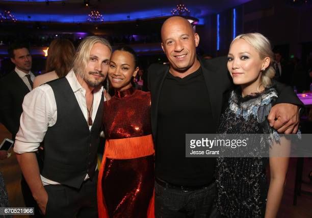 """Artist Marco Perego, actors Zoe Saldana, Vin Diesel and Pom Klementieff at The World Premiere of Marvel Studios' """"Guardians of the Galaxy Vol. 2."""" at..."""