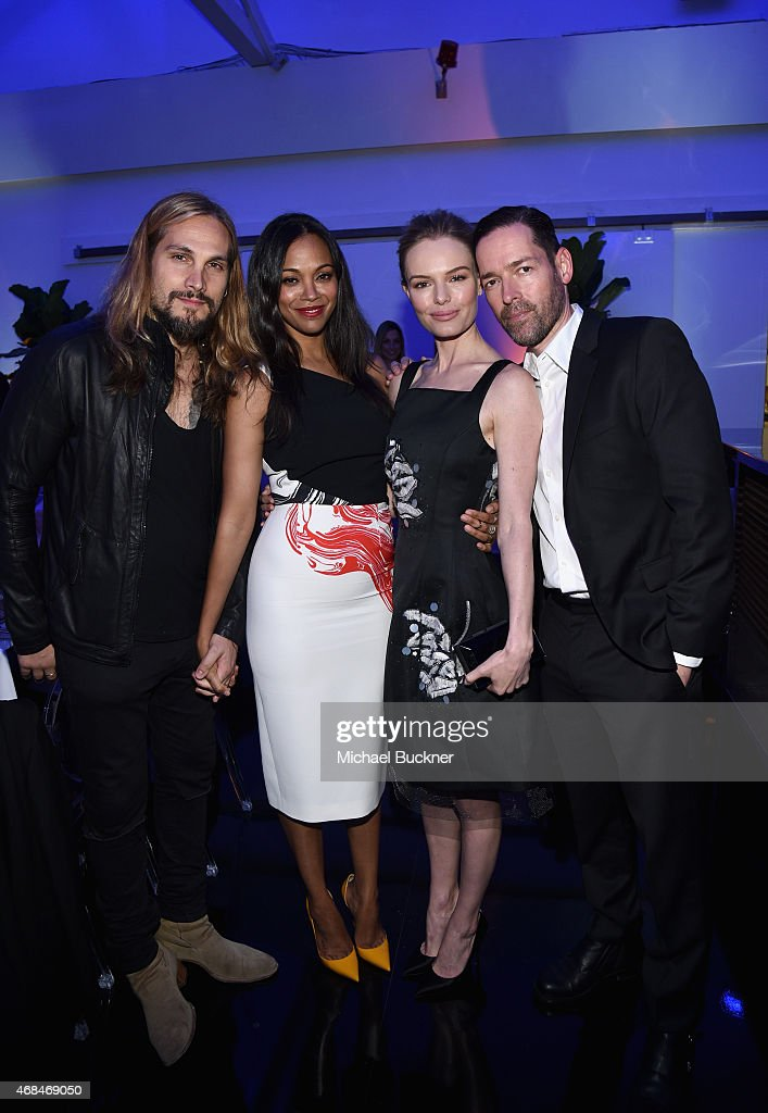 Artist Marco Perego, actresses Zoe Saldana, Kate Bosworth and filmmaker Michael Polish attend the Samsung Galaxy S 6 edge launch on April 2, 2015 in Los Angeles, California.