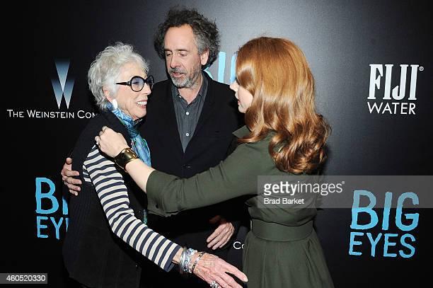 "Artist Margaret Keane, filmmaker Tim Burton, and actress Amy Adams attend the ""Big Eyes"" New York Premiere at Museum of Modern Art on December 15,..."
