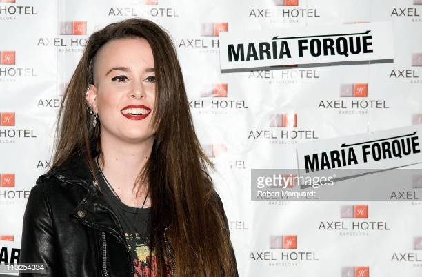 Artist Maria Forque inaugurates her latest work 'Bleeding Me' at the Axel Hotel on April 28, 2011 in Barcelona, Spain.