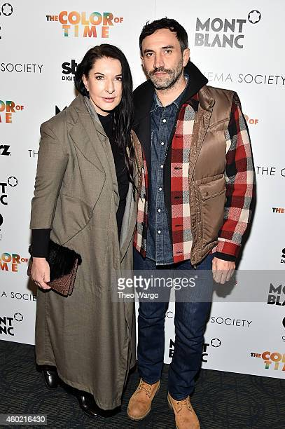 Artist Marina Abramovic and designer Riccardo Tisci attend the Cinema Society Montblanc host a special screening Of Starz Digital's 'The Color Of...