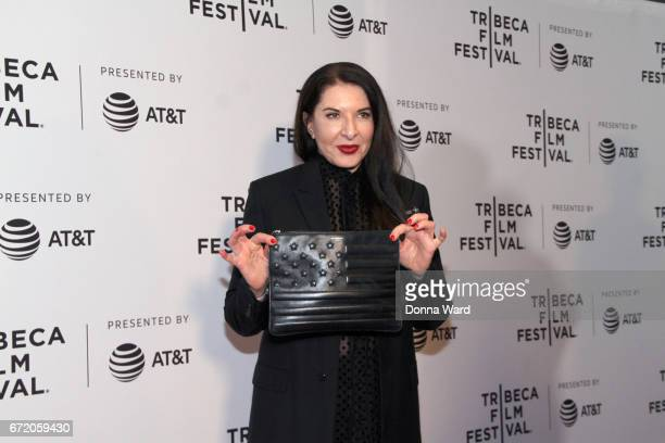 "Artist Marina Abramovic attends ""Blurred Lines: Inside the Art World"" Premiere during the 2017 Tribeca Film Festival at Cinepolis Chelsea on April..."