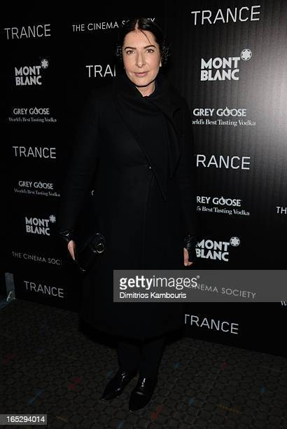 Artist Marina Abramovic attends Fox Searchlight Pictures' premiere of Trance hosted by the Cinema Society Montblanc at SVA Theater on April 2 2013 in...