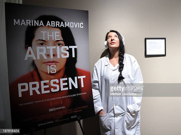 "Artist Marina Abramovic attends The Artist is Present ""Silence Is Golden Event"" at Julie Nester Gallery on January 21, 2012 in Park City, Utah."