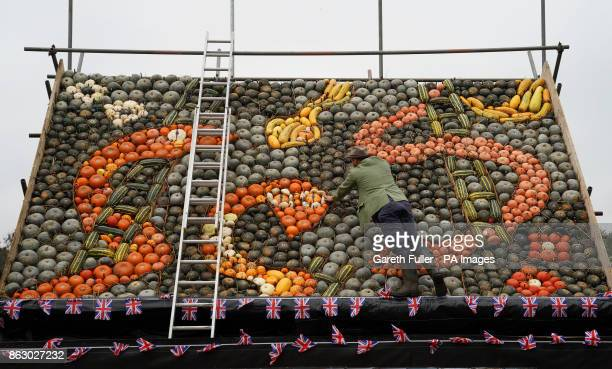 Artist Mark Ford puts the final touches to a Snakes and Ladders themed pumpkin mural using over 1500 whole fruits he's created at Slindon Pumpkins in...