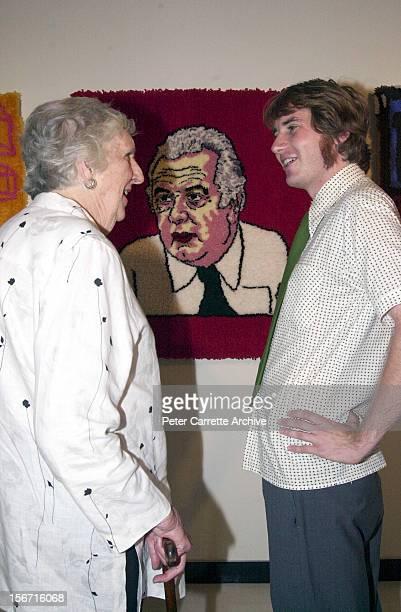 Artist Martin Wilson with Margaret Whitlam and his artwork titled 'Fuzzy Prime Minsiters of Australia' depicting former Prime Minsiter Gough Whitlam...