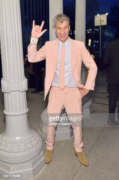 Artist Maurizio Cattelan wearing Gucci attends 2018 LACMA Art Film Gala honoring Catherine Opie and Guillermo del Toro presented by Gucci at LACMA on...