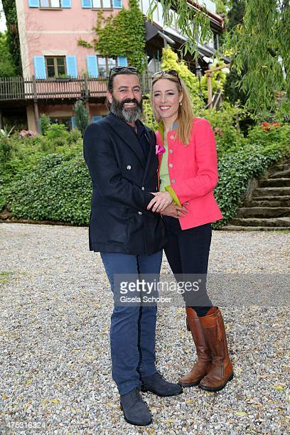 Artist Mauro Bergonzoli and his partner Franziska Fugger Babenhausen during the Mauro Bergonzoli Country Life Studio Opening on May 30 2015 in...
